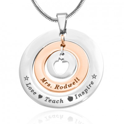 Personalised Circles of Love Necklace Teacher - TWO TONE - Rose Gold  Silver - AMAZINGNECKLACE.COM