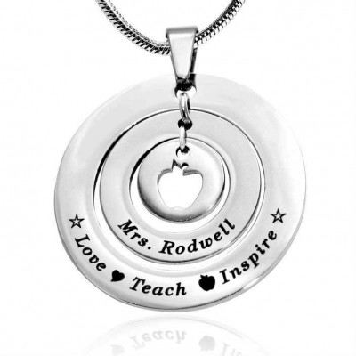 Personalised Circles of Love Necklace Teacher - Sterling Silver - AMAZINGNECKLACE.COM