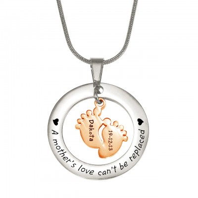 Personalised Cant Be Replaced Necklace - Single Feet 18mm - Two Tone - 18ct Rose Gold Plated - AMAZINGNECKLACE.COM