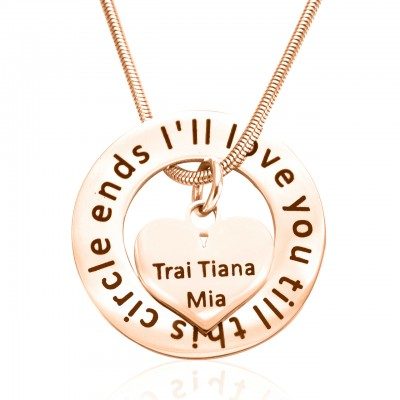 Personalised Circle My Heart Necklace - 18ct Rose Gold Plated - AMAZINGNECKLACE.COM