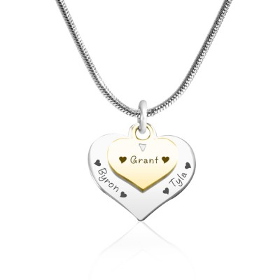 Personalised Double Heart Necklace - Two Tone - Gold n Silver - AMAZINGNECKLACE.COM