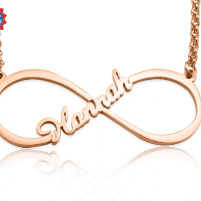 Personalised Single Infinity Name Necklace - 18ct Rose Gold Plated - AMAZINGNECKLACE.COM