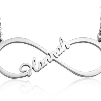 Personalised Single Infinity Name Necklace - Sterling Silver - AMAZINGNECKLACE.COM