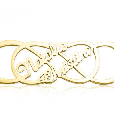 Personalised Infinity X Infinity Name Necklace - 18ct Gold Plated - AMAZINGNECKLACE.COM