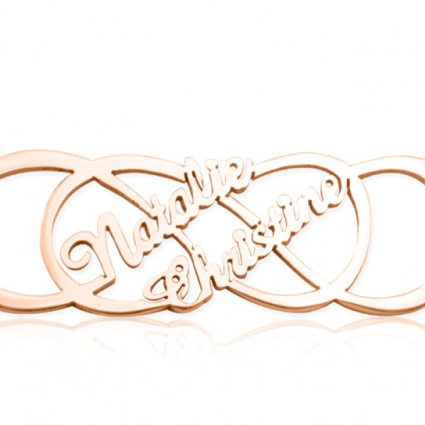 Personalised Infinity X Infinity Name Necklace - 18ct Rose Gold Plated - AMAZINGNECKLACE.COM