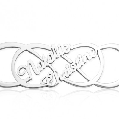 Personalised Infinity X Infinity Name Necklace - Sterling Silver - AMAZINGNECKLACE.COM