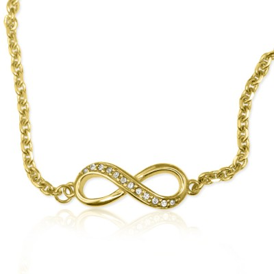 Personalised  Crystal Infinity Bracelet/Anklet - 18ct Gold Plated - AMAZINGNECKLACE.COM