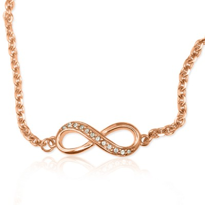 Personalised  Crystal Infinity Bracelet/Anklet - 18ct Rose Gold Plated - AMAZINGNECKLACE.COM