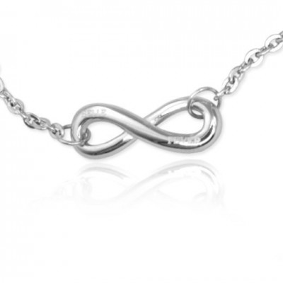 Personalised Classic  Infinity Bracelet/Anklet - Sterling Silver - AMAZINGNECKLACE.COM