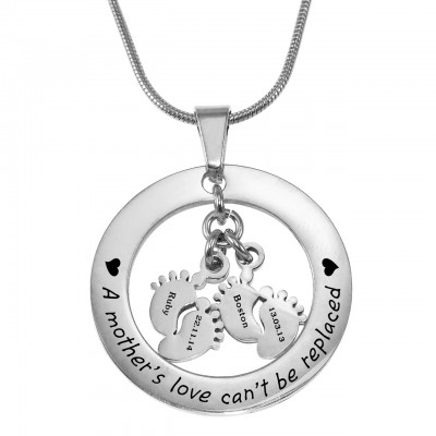 Personalised Cant Be Replaced Necklace - Double Feet 12mm - AMAZINGNECKLACE.COM