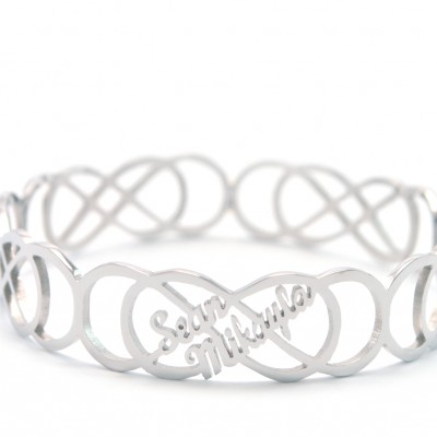 Personalised Endless Double Infinity Bangles - AMAZINGNECKLACE.COM