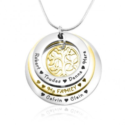 Personalised Family Triple Love - Two Tone - Gold n Silver - AMAZINGNECKLACE.COM