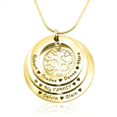 Personalised Family Triple Love - 18ct Gold Plated - AMAZINGNECKLACE.COM