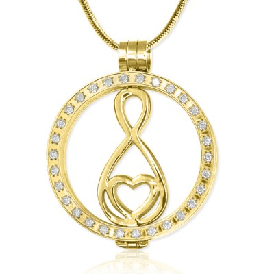 Personalised Gold Diamonte Necklace with 18ct Gold Plated Infinity - AMAZINGNECKLACE.COM