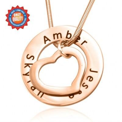 Personalised Heart Washer Necklace - 18ct Rose Gold Plated - AMAZINGNECKLACE.COM