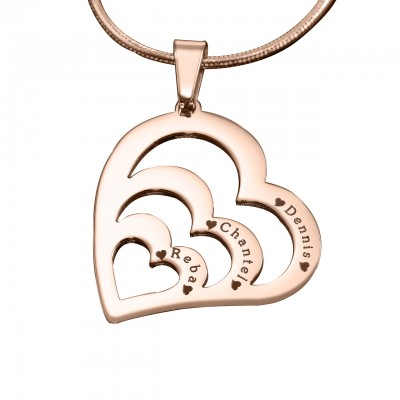 Personalised Hearts of Love Necklace - 18ct Rose Gold Plated - AMAZINGNECKLACE.COM