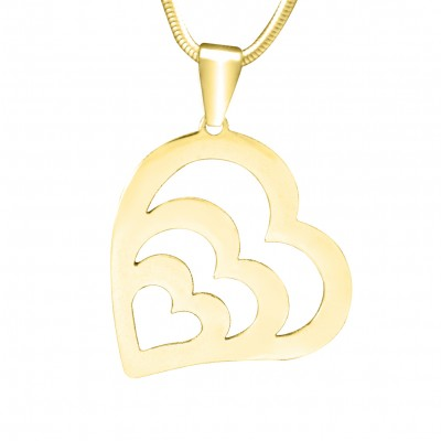 Personalised Hearts of Love Necklace - 18ct Gold Plated - AMAZINGNECKLACE.COM