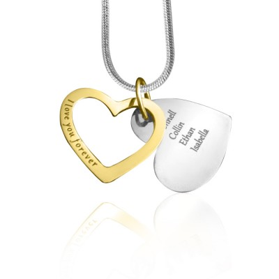 Personalised Love Forever Necklace - Two Tone - Gold  Silver - AMAZINGNECKLACE.COM