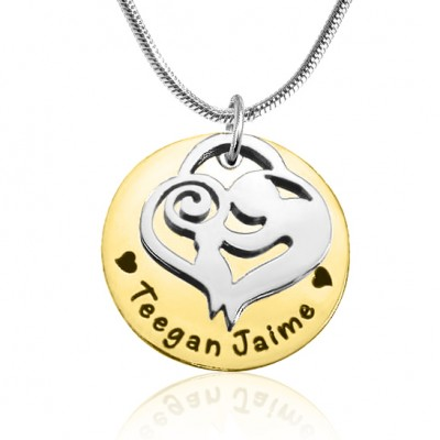 Personalised Mother's Disc Single Necklace - Two Tone - Gold  Silver - AMAZINGNECKLACE.COM