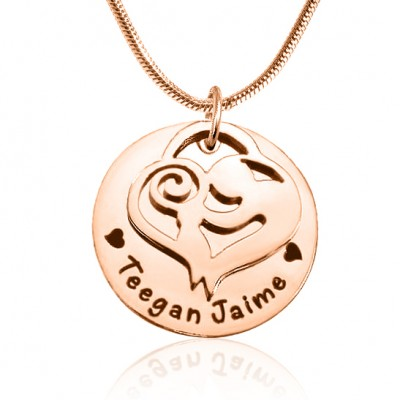 Personalised Mother's Disc Single Necklace - 18ct Rose Gold Plated - AMAZINGNECKLACE.COM