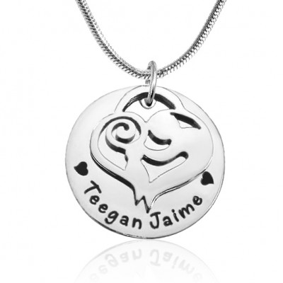 Personalised Mother's Disc Single Necklace - Sterling Silver - AMAZINGNECKLACE.COM