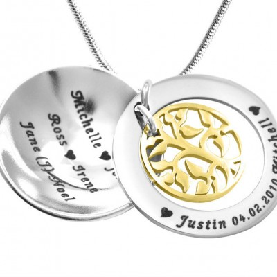 Personalised My Family Tree Dome Necklace - Two Tone - Gold Tree - AMAZINGNECKLACE.COM