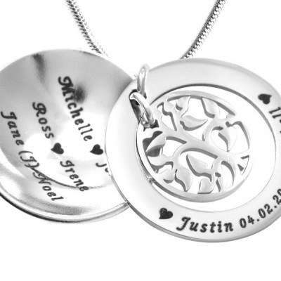 Personalised My Family Tree Dome Necklace - Sterling Silver - AMAZINGNECKLACE.COM