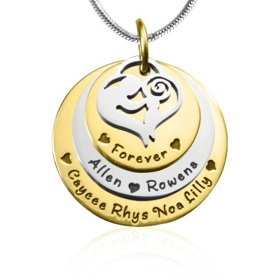 Personalised Mother's Disc Triple Necklace - TWO TONE - Gold  Silver - AMAZINGNECKLACE.COM