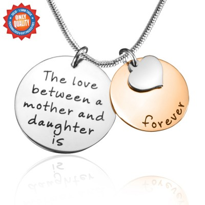 Personalised Mother Forever Necklace - Two Tone - Rose  Silver - AMAZINGNECKLACE.COM