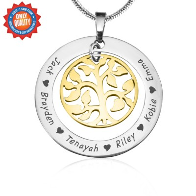 Personalised My Family Tree Necklace - Two Tone - Gold Tree - AMAZINGNECKLACE.COM