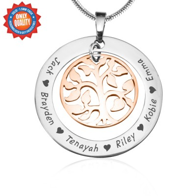 Personalised My Family Tree Necklace - Two Tone - Rose Gold Tree - AMAZINGNECKLACE.COM