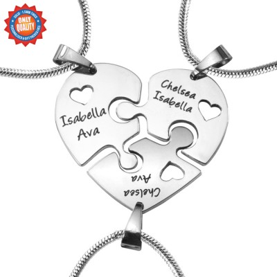 Personalised Triple Heart Puzzle - Three Personalised Necklaces - AMAZINGNECKLACE.COM