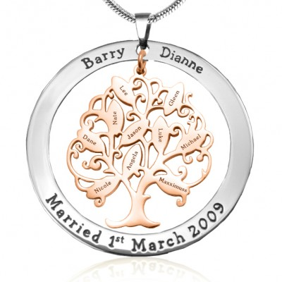 Personalised Tree of My Life Washer 10 - Two Tone - Rose Gold Tree - AMAZINGNECKLACE.COM