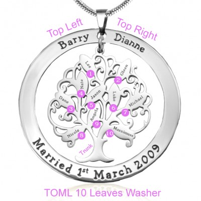 Personalised Tree of My Life Washer Necklace 10 - Sterling Silver - AMAZINGNECKLACE.COM