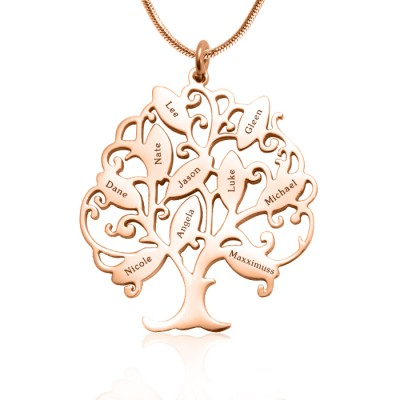 Personalised Tree of My Life Necklace 10 - 18ct Rose Gold Plated - AMAZINGNECKLACE.COM