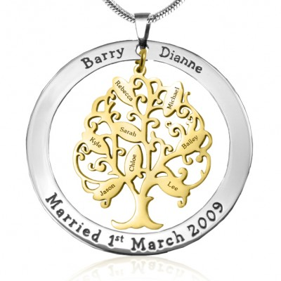 Personalised Tree of My Life Washer 8 - Two Tone - Gold Tree - AMAZINGNECKLACE.COM