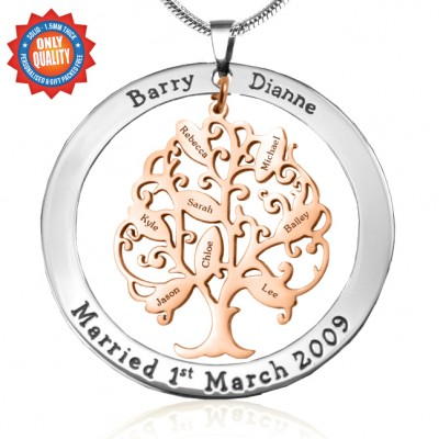 Personalised Tree of My Life Washer 8 - Two Tone - Rose Gold Tree - AMAZINGNECKLACE.COM