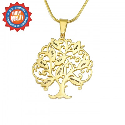 Personalised Tree of My Life Necklace 9 - 18ct Gold Plated - AMAZINGNECKLACE.COM