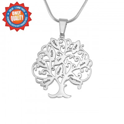 Personalised Tree of My Life Necklace 9 - Sterling Silver - AMAZINGNECKLACE.COM