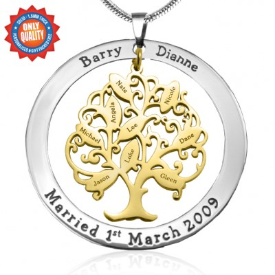 Personalised Tree of My Life Washer 9 - Two Tone - Gold Tree - AMAZINGNECKLACE.COM