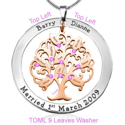 Personalised Tree of My Life Washer 9 - Two Tone - Rose Gold Tree - AMAZINGNECKLACE.COM