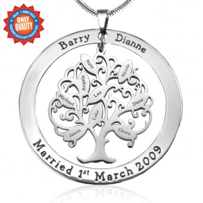 Personalised Tree of My Life Washer 9 - Sterling Silver - AMAZINGNECKLACE.COM