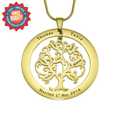 Personalised Tree of My Life Washer 7 - 18ct Gold Plated - AMAZINGNECKLACE.COM