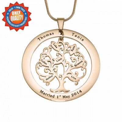 Personalised Tree of My Life Washer 8 - 18ct Rose Gold Plated - AMAZINGNECKLACE.COM
