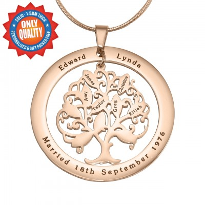 Personalised Tree of My Life Washer 10 - 18ct Rose Gold Plated - AMAZINGNECKLACE.COM
