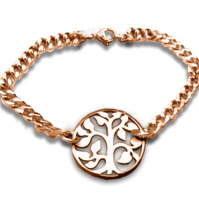 Personalised Tree Bracelet/Anklet - 18ct Rose Gold Plated - AMAZINGNECKLACE.COM