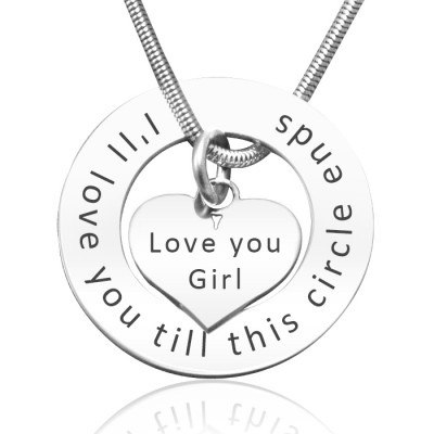 Personalised Circle My Heart Necklace - Sterling Silver - AMAZINGNECKLACE.COM