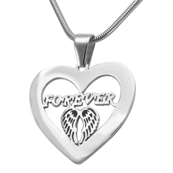Personalised Angel in My Heart Necklace - Sterling Silver - AMAZINGNECKLACE.COM