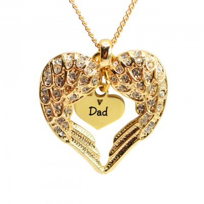 Personalised Angels Heart Necklace with Heart Insert - 18ct Gold Plated - AMAZINGNECKLACE.COM
