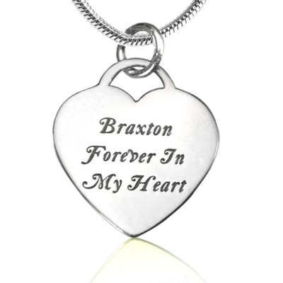 Personalised Forever in My Heart Necklace - Sterling Silver - AMAZINGNECKLACE.COM